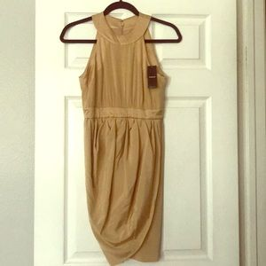 Camel color cocktail dress